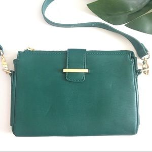 Forever 21 Teal Gold Buckle Zip Crossbody Purse